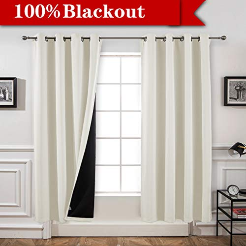 Yakamok 100% Blackout Curtains Thermal Insulated Noise Reducing Black Lined Curtains for Kitchen Room(52Wx84L,Cream,2 Panels)