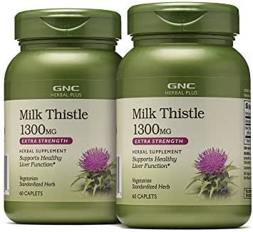 GNC Herbal Plus Milk Thistle 1300mg, 60 Caplets, Supports Healthy Liver Function