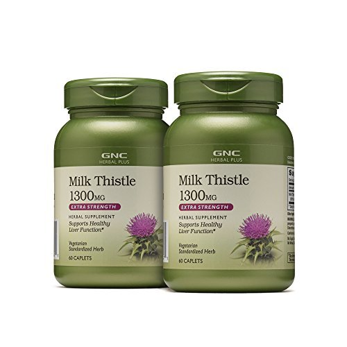(GNC Herbal Plus Milk Thistle for Healthy Liver, 1300mg - 60 Caplets, 2 Pack)