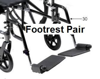 Drive Replacement Parts for Cruiser III Wheelchair (Footrest Set)