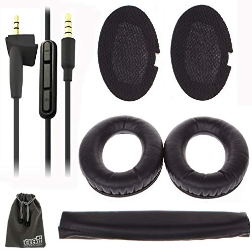 EEEKit Replacement Ear Pads Cushions + 3.5mm Audio Cable Aux Cord for Bose Quietcomfort 2/15 / QC 25 / Ae2 / Ae2i / Ae2w / Sound True/Sound Link (Around-Ear Only)