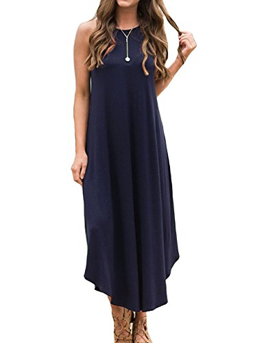 Halife Women's Casual Beach Long Sundress Sleeveless High Neck Maxi Dress XL Navy (Blue Soft Dress)