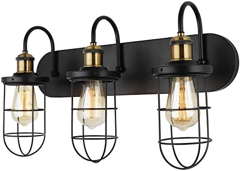 Hetolod Industrial Bathroom Vanity Light Fixtures Metal Bronze And Black Wall Sconce Vintage Wall Lamp Light For Kitchen Living Room Hallway E26 Base Ul Listed Wall Lights
