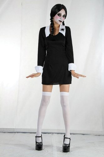 [Large Black & White Girls Creepy School Girl Costume] (Family Themed Fancy Dress Costumes)