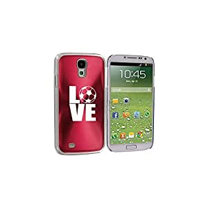 Rose Red Samsung Galaxy S4 S IV i9500 Aluminum Plated Hard Back Case Cover KK639 Love Soccer