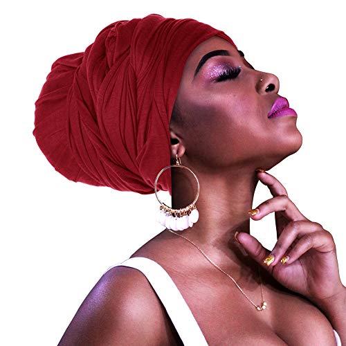 HOMELEX Head Wraps Turbans Stretch Jersey Knit Headwraps Wrap Scarf Turban Tie for Women (Red)