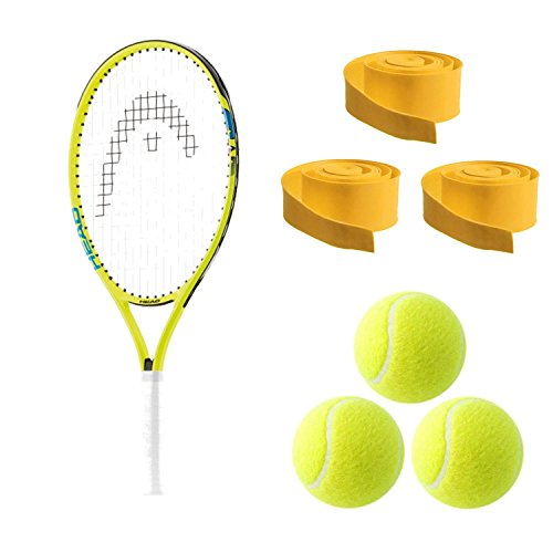 HEAD Speed 23 Junior Tennis Racquet Starter Kit or Set Bundled with Pack of 3 Yellow Overgrips and (1) Can of 3 Tennis Balls (Best Back to School Gift for Boys and Girls) by HEAD