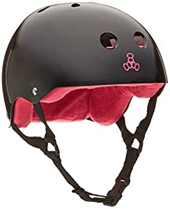Triple Eight 1311 Brainsaver Rubber Helmet with Sweatsaver Liner, Black/Red, Small