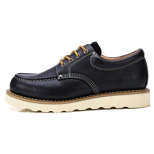 Trabajo Botas Camel Zapatos Seguridad Crown para de de Ocasionales Cuero de de de Hombres Negro Cordones Zapatos de Oxford No Vestir Corte con bajo w8tqS8p