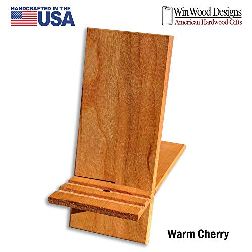 """Cell Phone and Tablet Hardwood Charging Viewing Stand American Cherry 6.6"""" x 4"""""""