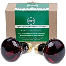 2-Pack of 75 Watt Infrared Heat Lamp / Light / Bulb for Reptile and Amphibian Use