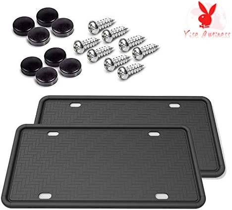2Pcs Universal American Car Licenses Plate Covers. 100/% Street Legal- Black Rattle-Proof Weather-Proof Rust-Proof Car License Plate Frame yise-M0006 Silicone Car License Plate Frame