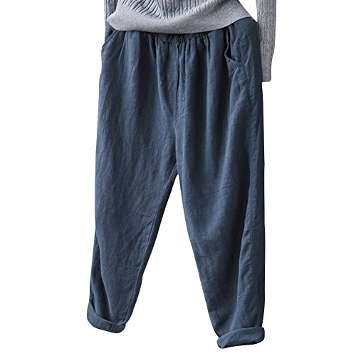Helisopus Women's Elastic Waist Casual Relaxed Loose Fit Cotton Linen Pants Harem Trousers Cropped Pants