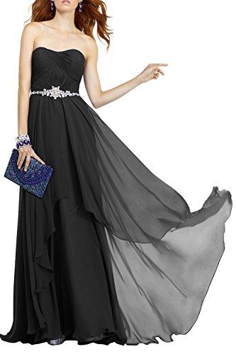 Elegant Schwarz La Abendkleider Abschlussballkleider Chiffon Kleider Brau Langes Promkleider mia Brautjungfernkleider Jugendweihe pxprqPwEX
