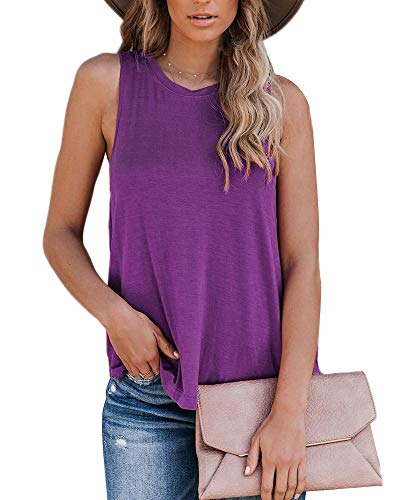 Eanklosco Womens Summer Sleeveless Trendy Basic Tank Tops Round Neck Casual Loose Tunic(Purple,XL)