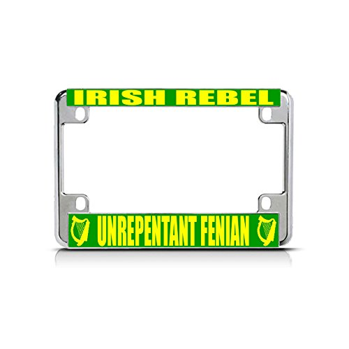(Irish Rebel Unrepentant Fenian Chrome Metal Bike Motorcycle License Plate Frame for Home/Man Cave Decor by PrMch )