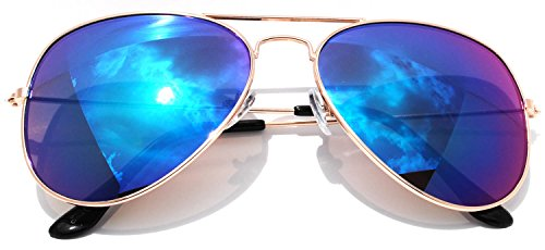 Classic Aviator Sunglasses Full Mirror Lens Metal Gold Color Frame Blue - Lens Color Blue