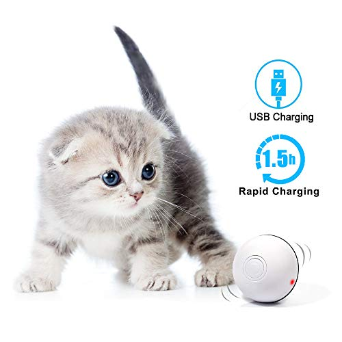 MHMYDIS Smart Interactive Cat Toy - USB Rechargeable 360 Degree Self Rotating Ball Build-in Spinning Led Light, Automatic Rolling Pet Toy Stimulate Hunting Instinct for Your Kitty and Dogs, White