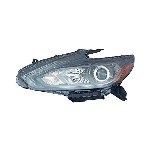 Door Left Headlight - HEADLIGHTSDEPOT Black Housing Halogen Headlight Compatible with Nissan Altima 2016-2016 Includes Left Driver Side Headlamp w/LED DRL w/Smoke Bezel 4-Door Sedan