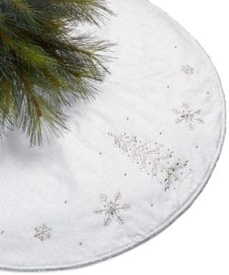 "Approx MSRP $100 Holiday Lane Metallic Silver Tone Snowflake Tree Skirt 48/"" Dia"
