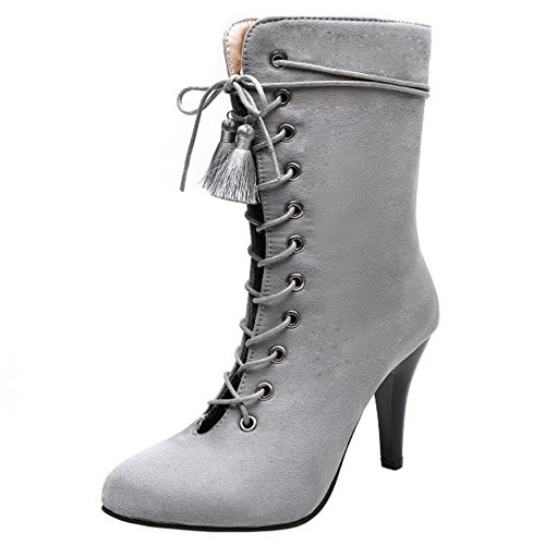 Autumn Ankle Stiletto Zipper Taoffen Booties Cut Women Out Gray Fashion Boots wWg4Cq