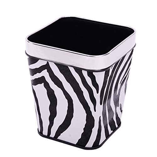 CX Trash Can - Square Uncovered Storage Bucket - Leather Stainless Steel Pressure Ring - Large Caliber Wastebaskets - Household Zebra Pattern 13 L 01