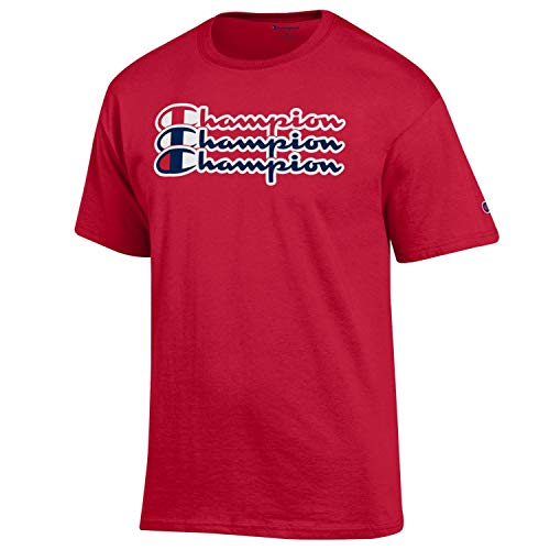 Champion Men's Classic Jersey Script Cotton T-Shirt-Scarlet/Champion for sale  Delivered anywhere in USA
