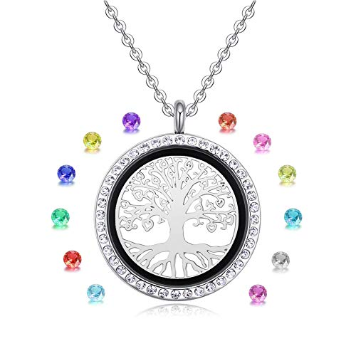 Vlinsha Tree of Life Floating Charm Locket Necklace, Memory Locket Birthstone Necklace Silver 30mm Round Living Glass Locket with Birthstone, Gifts for Mom (144Tree-aixin)