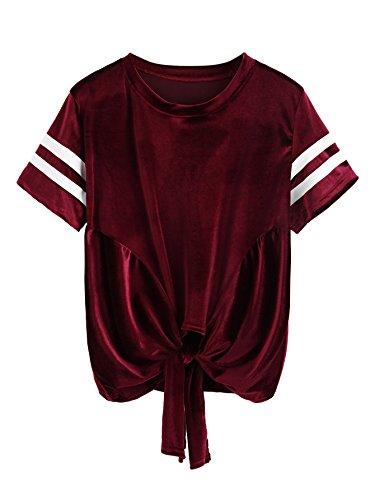 Verdusa Women's Striped Velvet T-Shirt Short Sleeve Knotted Tops Burgundy M (Fabric Velvet Striped)