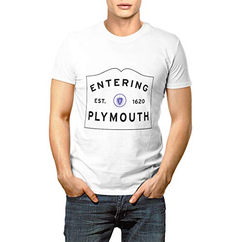 Massachusetts Welcome to Plymouth Ma Town Sign Boston Men's Short Sleeve ()
