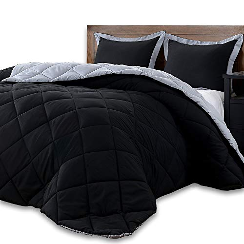 downluxe Lightweight Solid Comforter Set (Twin) with 1 Pillow Sham - 2-Piece Set - Black and Grey - Down Alternative Reversible Comforter