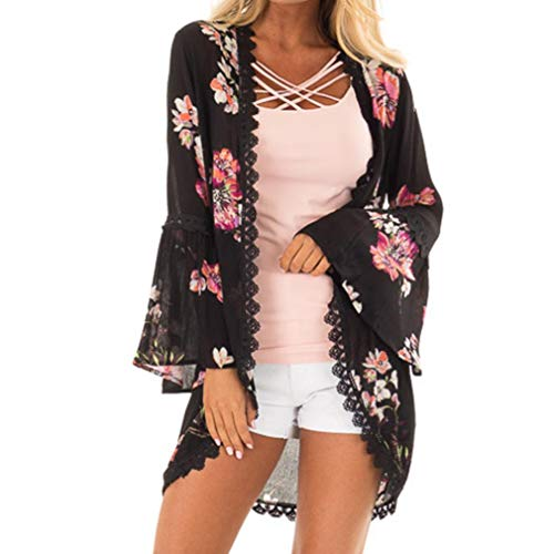 Silk Ribbed Cardigan (Syban Women Lace Floral Open Cape Casual Coat Loose Blouse kimono Jacket Cardigan(Medium,Y2-Black))