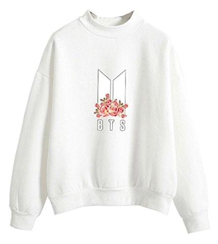 HK Women's Kpop BTS Flower Sweater Kawaii Pullover Teen Girls Korean Pastel Clothes Sweat Top