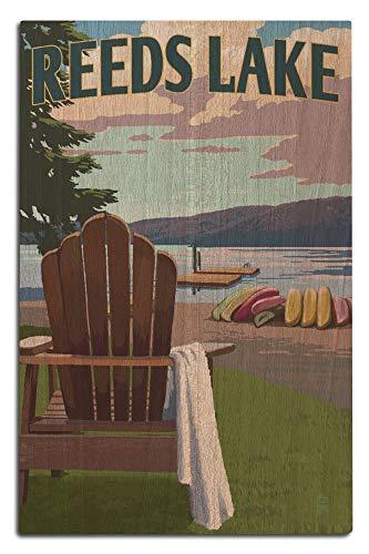 (Lantern Press Reeds Lake, Michigan - Adirondack Chairs and Lake 97397 (12x18 Wood Wall Sign, Wall Decor Ready to Hang))