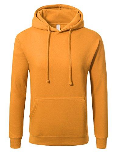 JD Apparel Men's Pullover Fleece Active Hoodie Sweatshirt L (Ribbed Trim Fleece Hoodie)