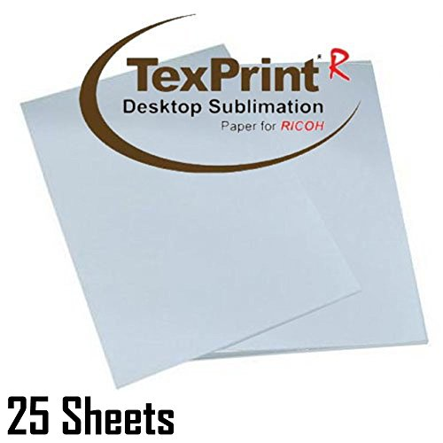 Texprint Dye Sublimation Paper for Ricoh Printers 8.5X11, Dye Sublimation Transfer Paper(Pack of 25 Sheets) Comes with Innosub Heat Tape Resistant
