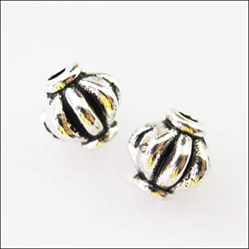 (Calvas New 20Pcs Tibetan Silver Tone Pumpkin Spacer Beads Charms 6mm)