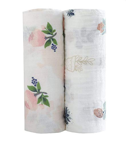 - Baby Swaddle Blankets Large Unisex Muslin Swaddling Blanket 47x47 (2 pack) Floral Swaddle Wrap Nursing Cover & Burping Cloth