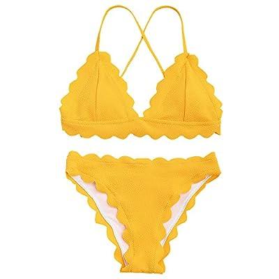 ZAFUL Women's Sexy Scalloped Criss-Cross Bikini Set Classic Triangle-Shaped Bottoms Swimsuits