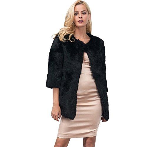 Veste GreatestPAK Fourrure Faux Faux Noir Womens Court Winter Fox a Manteau de Manteau Fourrure Lady de Parka Outerwear Chaud tq6B5wE
