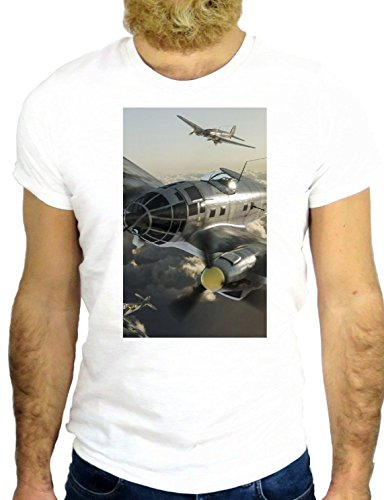 T SHIRT Z2492 PLANE AIRPLANE COOL ROCK WAR NICE HIPSTER VINTAGE COOL US UK GGG24 BIANCA - WHITE L