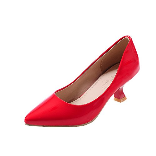 Shoes Heels Pumps Pull Closed Kitten Women's On Toe PU Solid WeiPoot Red qSwBURn