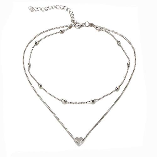 Layered Choker Necklace Set,Haluoo Women'S Ball Collar Chain Necklace Girls Tiny Heart Choker Necklace Lightweight Women Adjustable Multi-Layered Necklace Fashion Jewelry (Silver)