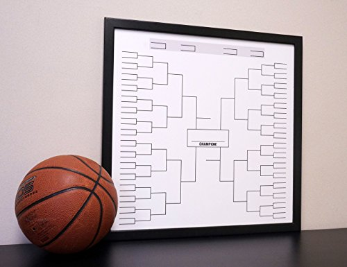 Custom Athletic Tournament Bracket Dry Erase Board White & Black 24''x24'' Framed by Tailor Made Whiteboards