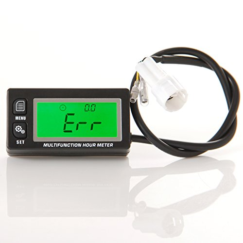 Runleader RL-HM028A Inductive tachometer with hour meter thermometer backlit display for all gasoline engine ATV UTV dirtbike motobike motocycle outboards snowmobile pitbike PWC marine boat waterproof Ltd