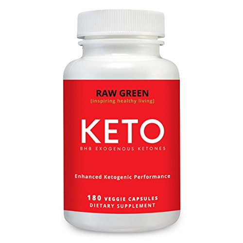 Exogenous Ketone Capsules- Keto Diet Supplement with BHB Salts as Exogenous Ketones, Organic Caffeine, Electrolytes 180 Count by Raw Green by RGO