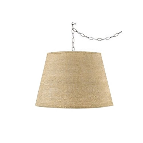 Upgradelights Burlap Swag Lamp Hanging Lighting Fixture Portable Swag Lamp Kit Natural 13x16x11 ()