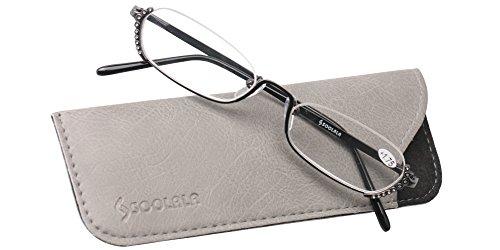 SOOLALA Ladies Rhinestone Designer Alloy Half Frame Stylish Slim Reading Glass, Gun, - Reading Glasses Lense Half