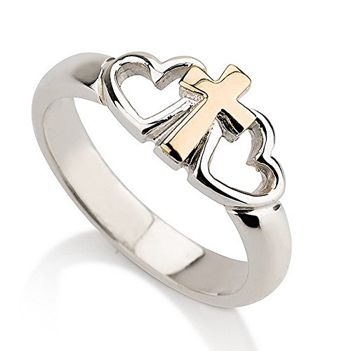 Sterling Silver Cross Ring with Two Hearts and a Gold Cross Heart Ring-Available sizes 5,5.5,6,6.5,7,7.5,8,8.5,9 (7) Heart Personalized Cross