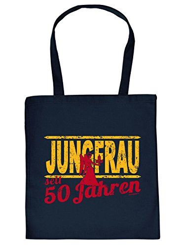Geschenkidee zum 50. Geburtstag: Sternzeichen Unisex Jutetasche/ Einkaufstasche/ Stoffbeutel/ Jungfrau seit 50 Jahren